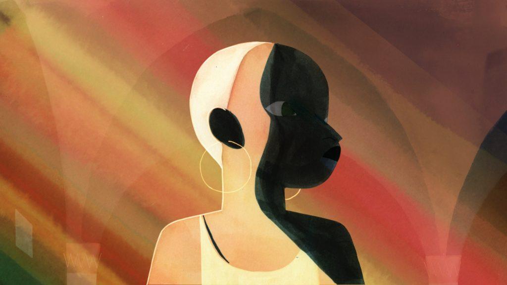 Eine abstrakte Zeichnung einer Frau im Profil in gelb-braunen und schwarzen Farben.