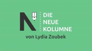 """Das schwarz-weiße Logo von Die Neue Norm. Daneben steht """"Die Neue Kolumne"""". Unten steht: von Lydia Zoubek."""