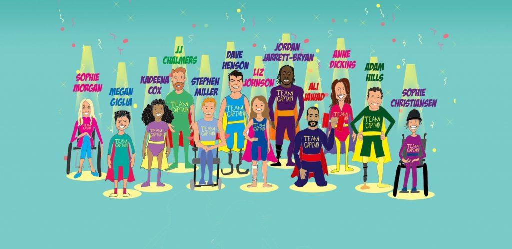 Gruppenbild von Comicfiguren mit Behinderung.