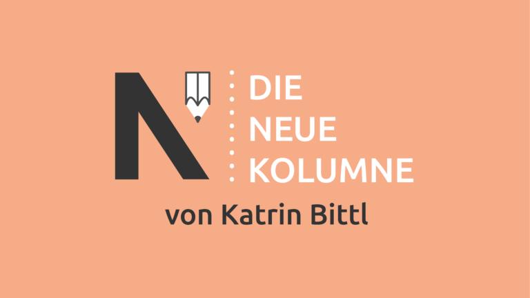 Das Logo von Die Neue Norm auf puderfarbenen Grund. Rechts steht: Die Neue Kolumne. Unten steht: Von Katrin Bittl.