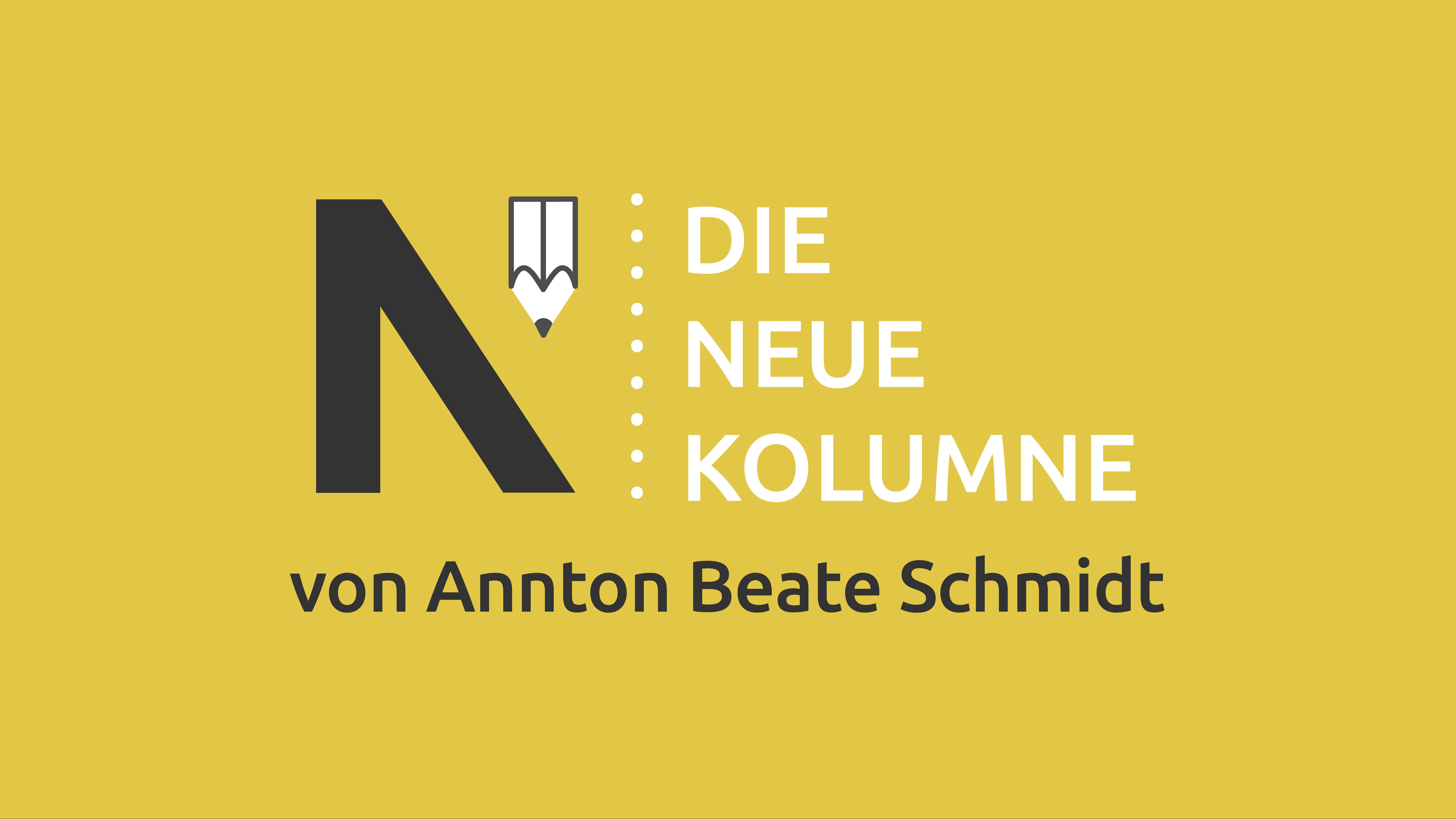 Das Logo von Die Neue Norm auf gelben Grund. Rechts steht: Die Neue Kolumne. Unten Steht: Von Annton Beate Schmidt.