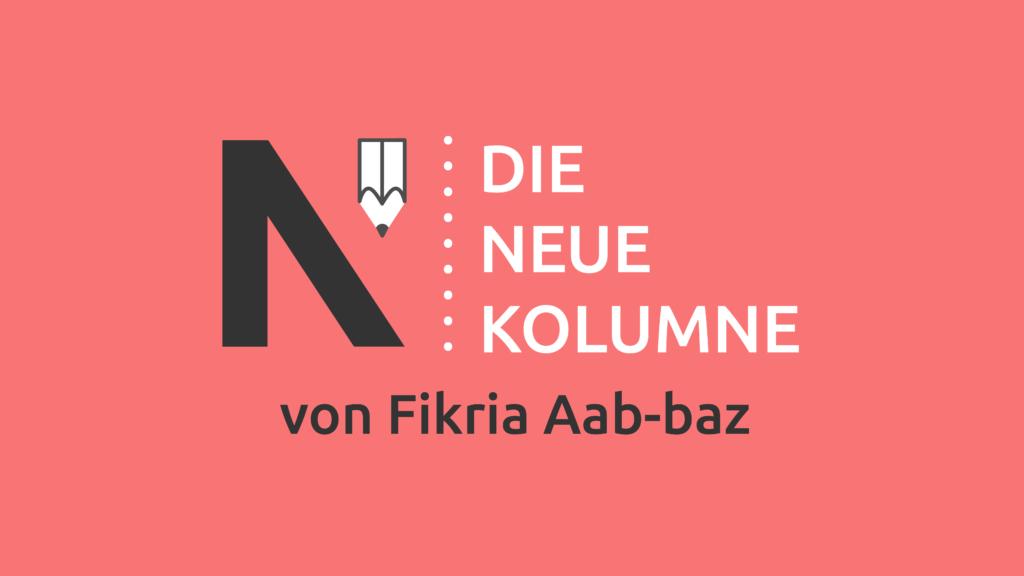 Das Logo von Die Neue Norm auf hellrotem Grund. Rechts steht: Die Neue Kolumne. Unten Steht: Von Fikria Aab-baz