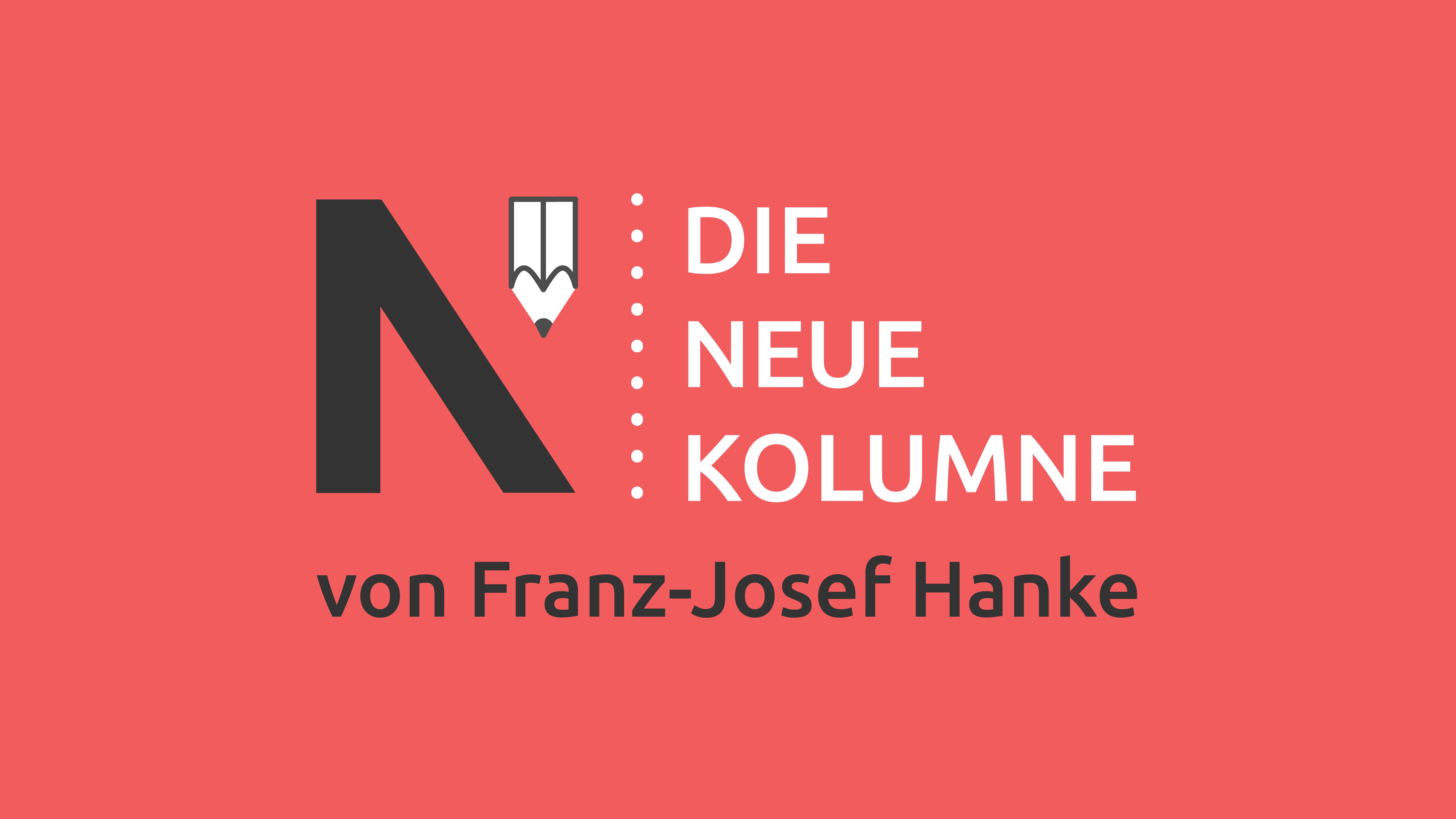 Das Logo von Die Neue Norm auf rotem Grund. Rechts steht: Die neue Kolumne. Unten steht: Von Franz-Josef Hanke.