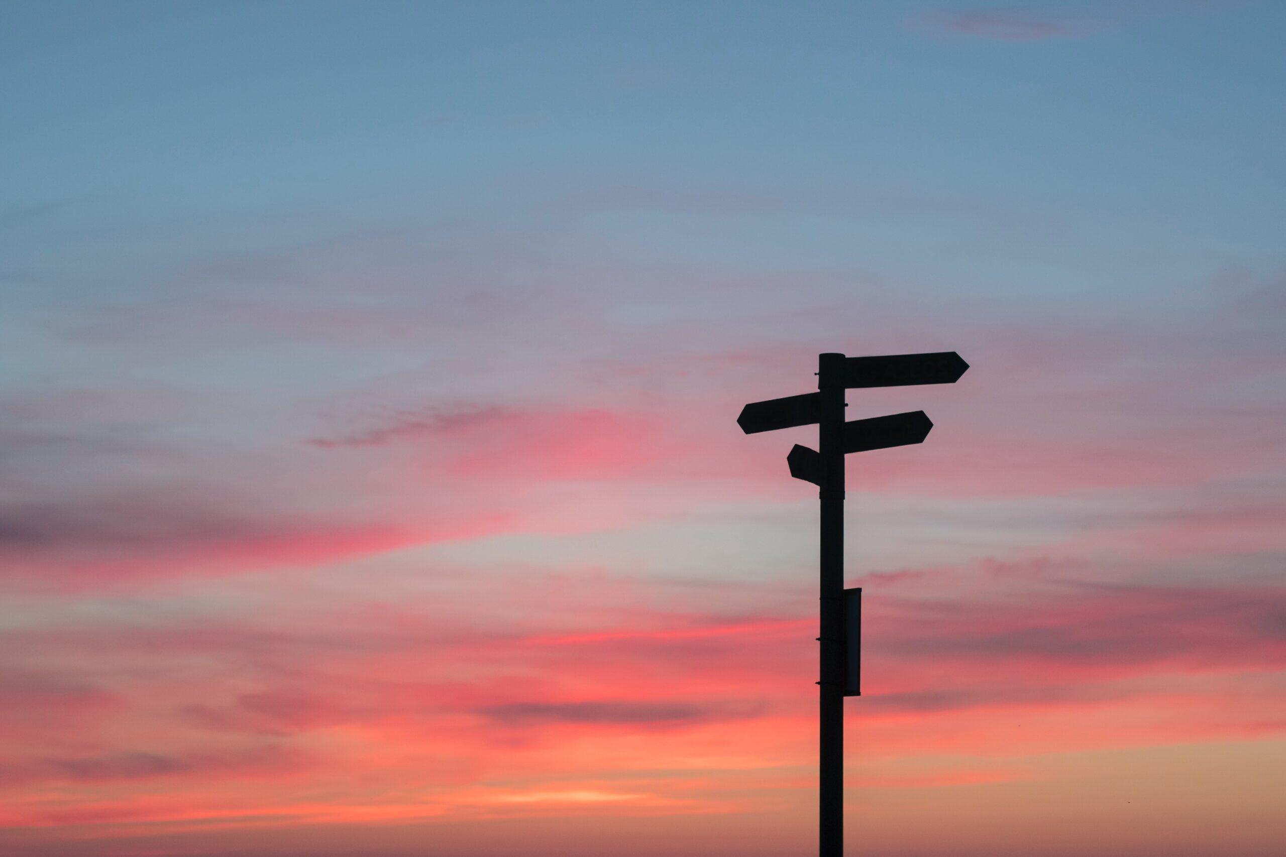 ein rosaroter himmel, davor schilder, die in verschiedene richtungen zeigen