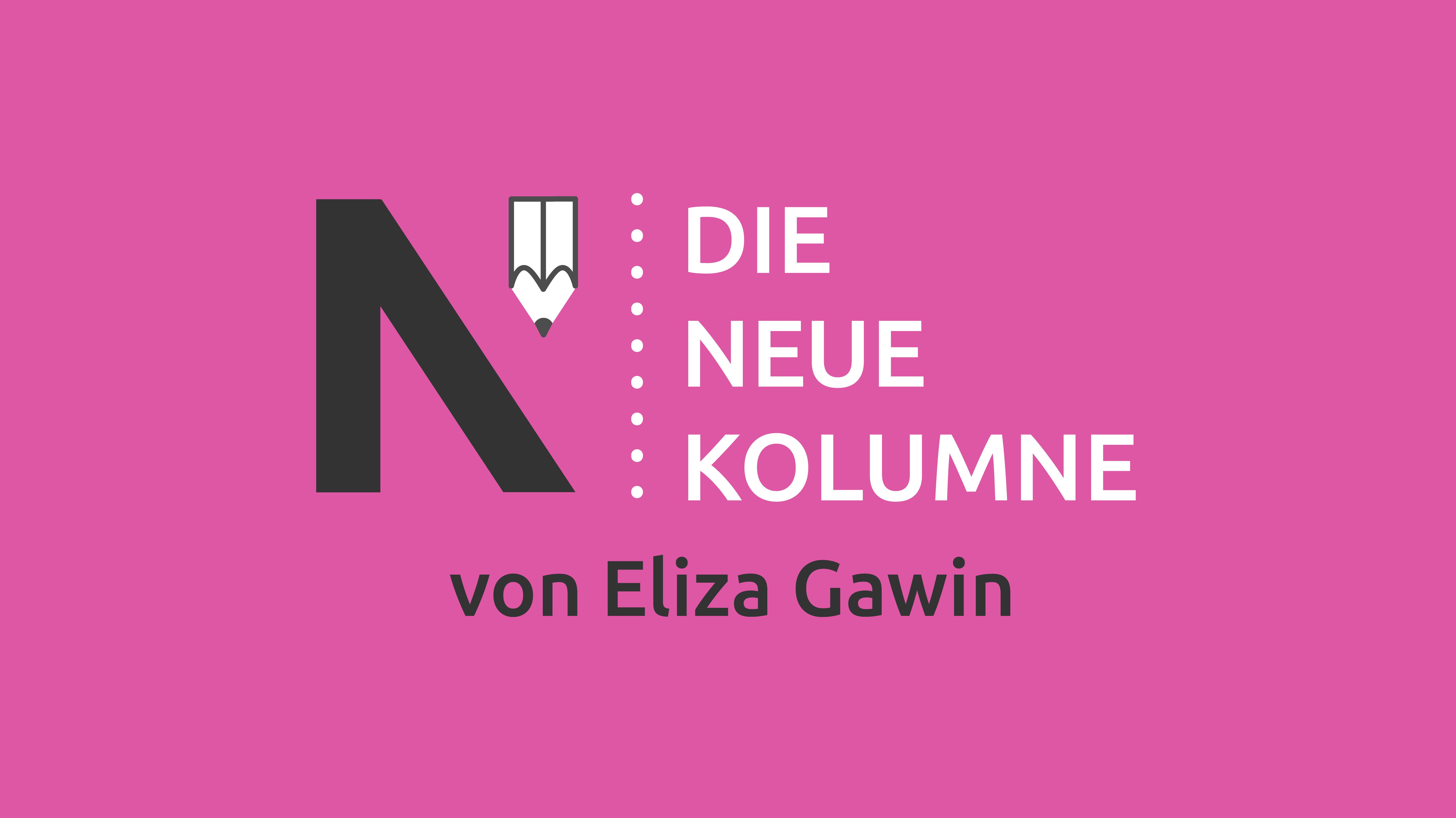 Das Logo von Die Neue Norm auf pinkem Grund. Rechts steht: Die Neue Kolumne. Unten steht: Von Eliza Gawin.