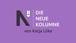 Das Logo von Die Neue Norm auf lilafarbenen Grund. Rechts steht: Die Neue Kolumne. Unten steht: von Katja Lüke.
