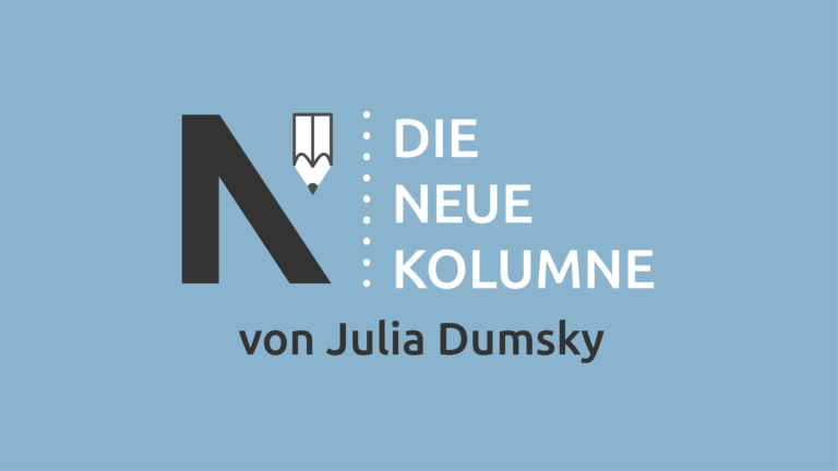 Das Logo von Die Neue Norm auf hellblauem Grund. Rechts davon steht: Die Neue Kolumne. Unten steht: Von Julia Dumsky.