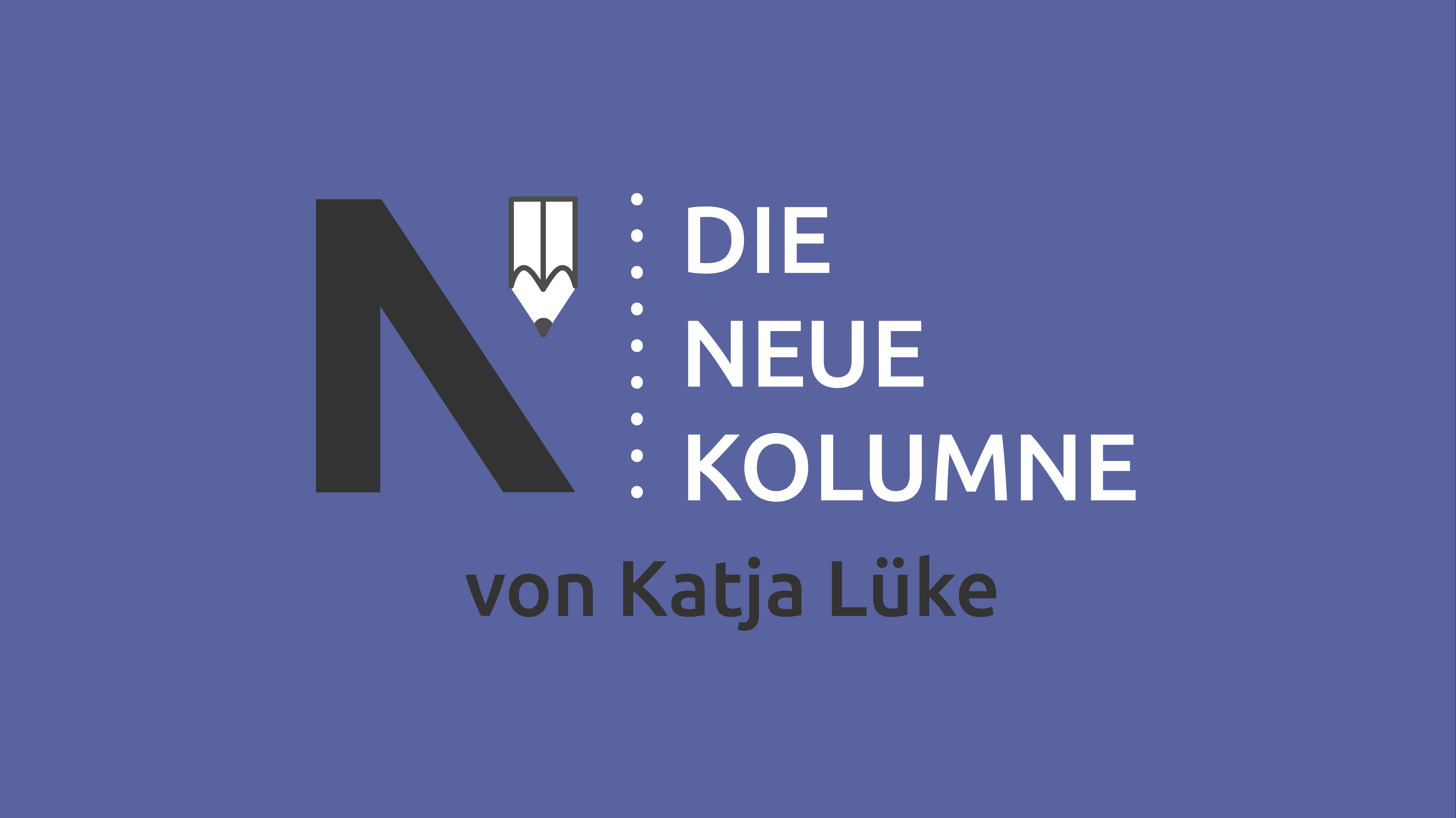 Das Logo von Die Neue Norm auf blauem Grund. Rechts davon steht: Die Neue Kolumne. Unten steht: Von Katja Lüke.