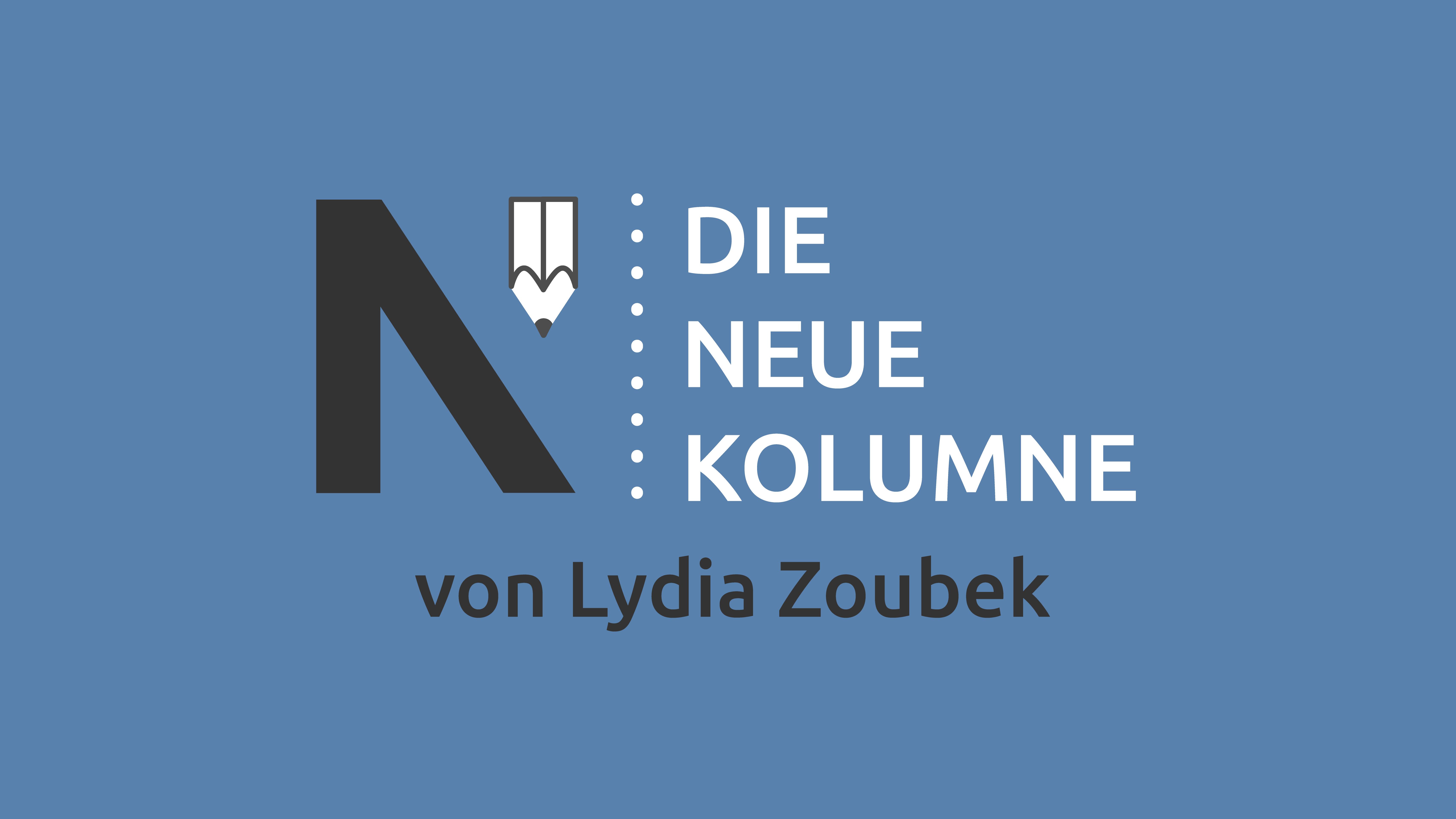 Das Logo von Die Neue Norm auf blauem Grund. Rechts davon steht: Die Neue Kolumne. Unten steht: Von Lydia Zoubek