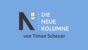 Das Logo von Die Neue Norm auf hellblauen grund. Rechts davon steht: Die Neue Kolumne. Unten steht: Von Timon Scheuer