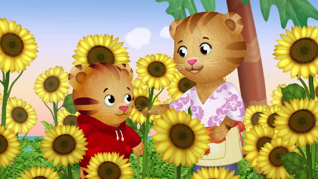 Comic Darstellung: Zwei Tiger stehen in einem Sonnenblumenfeld.