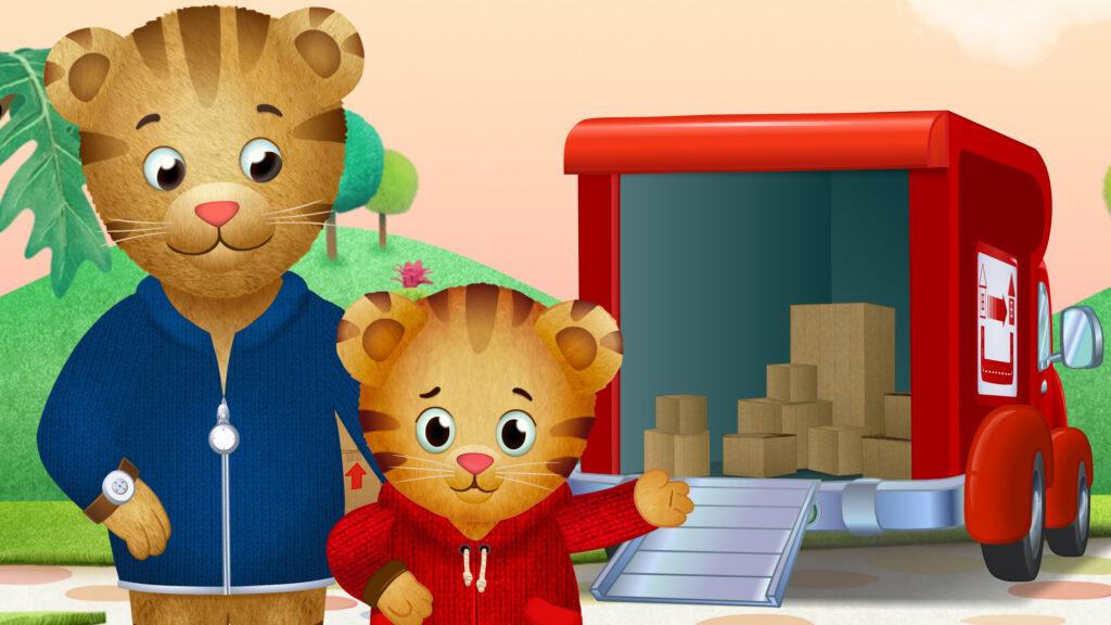 Comic Darstellung: Zwei Tiger stehen vor einem Lastwagen in dem Kisten gelagert sind.