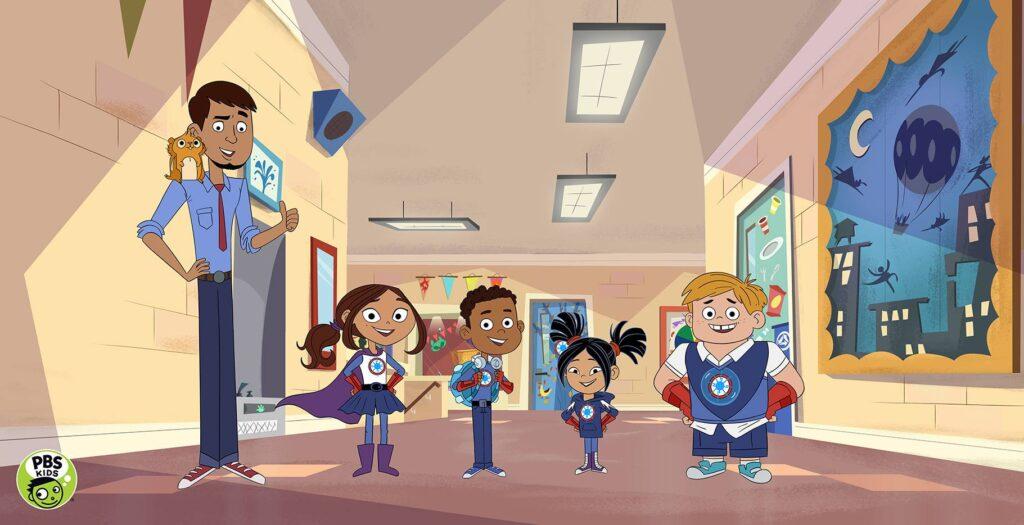 Comic Darstellung: Ein Mann und vier Kinder stehen in einem Schulgebäude. Die Kinder tragen Superhelden Kostüme.