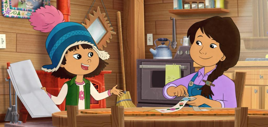 Comic Darstellung: Mutter und Tochter sitzen am Küchentisch.