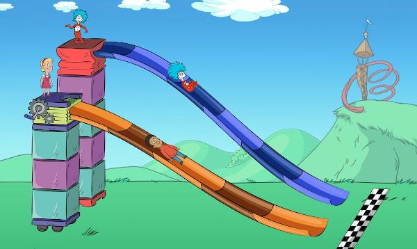 Comic Darstellung: Zwei Kinder stehen auf unterschiedliche hohen Türmen, von denen aus Rutschen ins ziel führen.