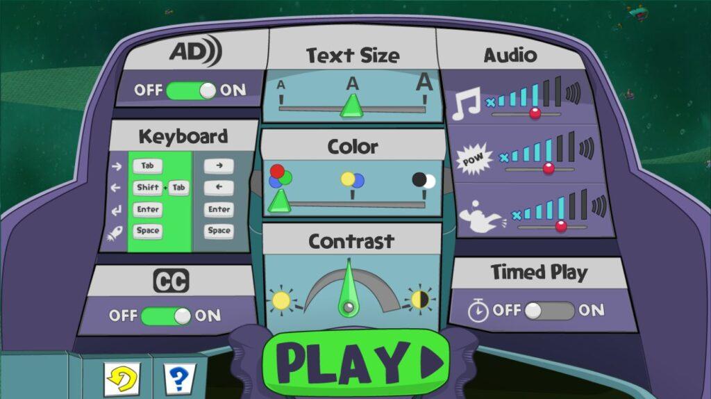Comichafte Darstellung der Spieleinstellungen. Es können Kontrast, Farbe, Textgröße und Ton mit verschiedenen Knöpfen und Reglern eingestellt werden.