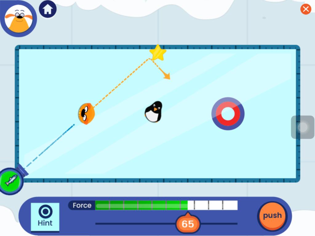 Comichafte Darstellung einer Eisfläche, auf der, ähnlich wie beim Billard, mit einem Fisch Stofftiere in ein Ziel geschossen werden müssen.