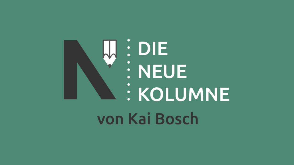 Das Logo von Die Neue Norm auf grünem Grund. Rechts davon steht: Die Neue Kolumne. Unten steht: Von Kai Bosch.
