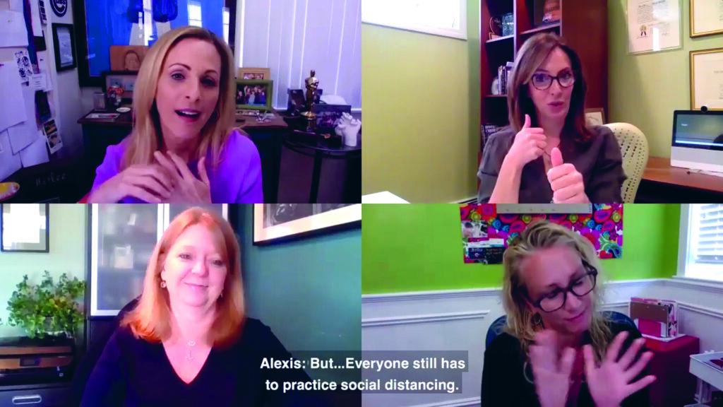 Vier Frauen - darunter Marlee Matlin - in einer Videokonferenz.