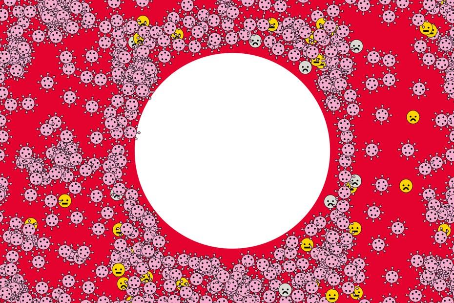 Um einen großen weißen Kreis versammeln sich vor rotem Hintergrund viele rosa dargestellte kleine Viren.