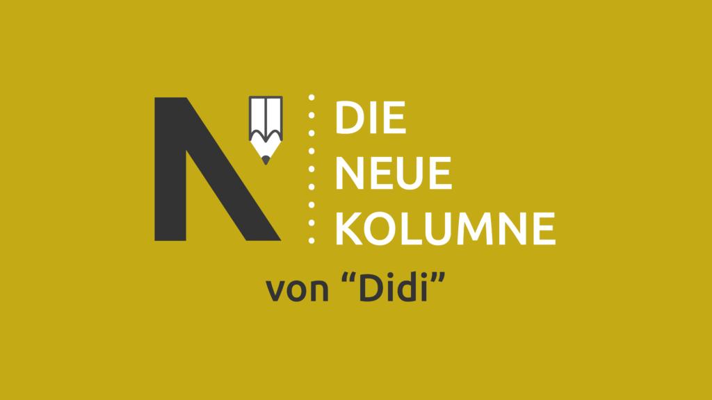 """Das Logo von Die Neue Norm auf gelbem Grund. Rechts davon steht: Die Neue Kolumne. Unten steht: Von """"Didi""""."""