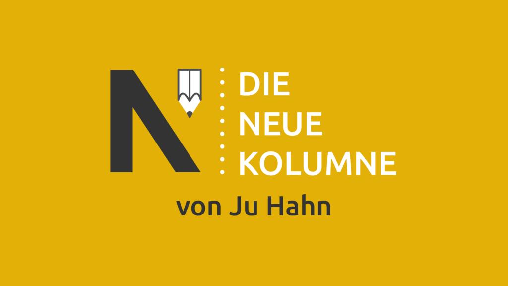 Das Logo von Die Neue Norm auf gelbem Grund. Rechts davon steht: Die Neue Kolumne. Unten steht: Von Ju Hahn.