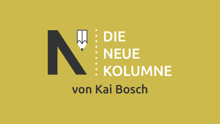 Das Logo von Die Neue Norm auf gelbem Grund. Rechts davon steht: Die Neue Kolumne. Unten steht: Von Kai Bosch.