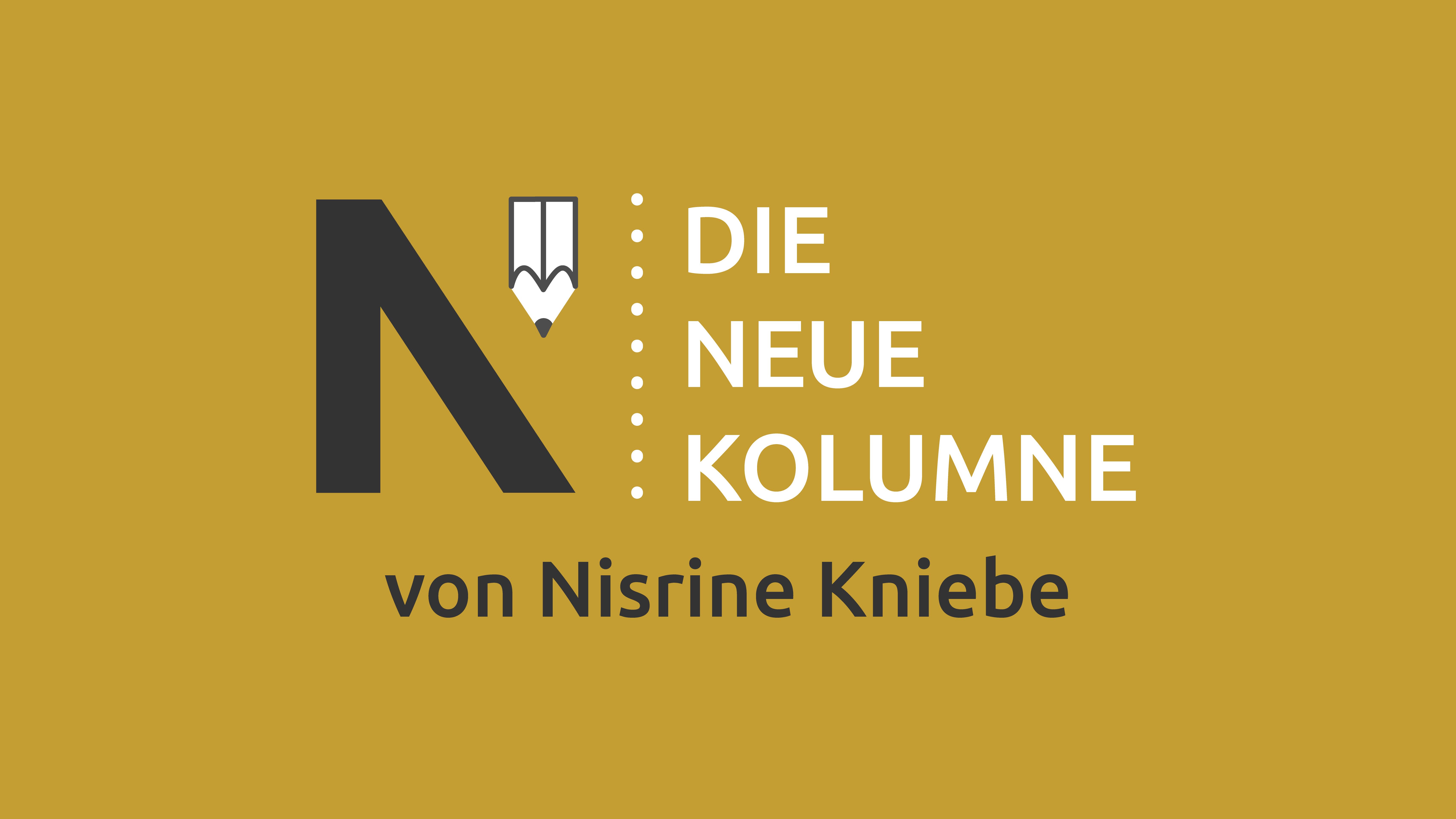 Das Logo von Die Neue Norm auf gelbem Grund. Rechts davon steht: Die Neue Kolumne. Unten steht: Von Nisrine Kniebe.