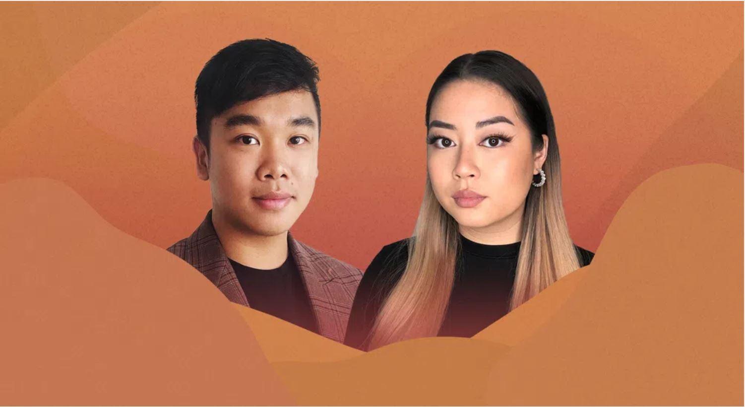 Eine Portraitaufnahme von Minh und Trang Nguyen wird von oranger Masse umrahmt. Sie sind Vietdeutsche, haben braune Augen und schwarze Haare, die bei Minh in blond übergehen.