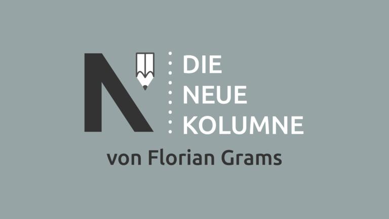 Das Logo von Die Neue Norm auf grauem Grund. Rechts davon steht: Die Neue Kolumne. Unten steht: Von Florian Grams.