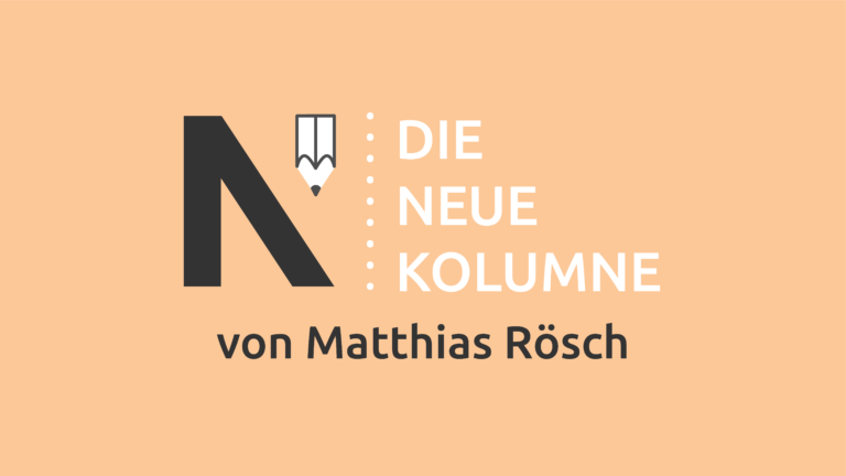 Das Logo von Die Neue Norm auf orangem Grund. Rechts davon steht: Die Neue Kolumne. Unten steht: Von Matthias Rösch.