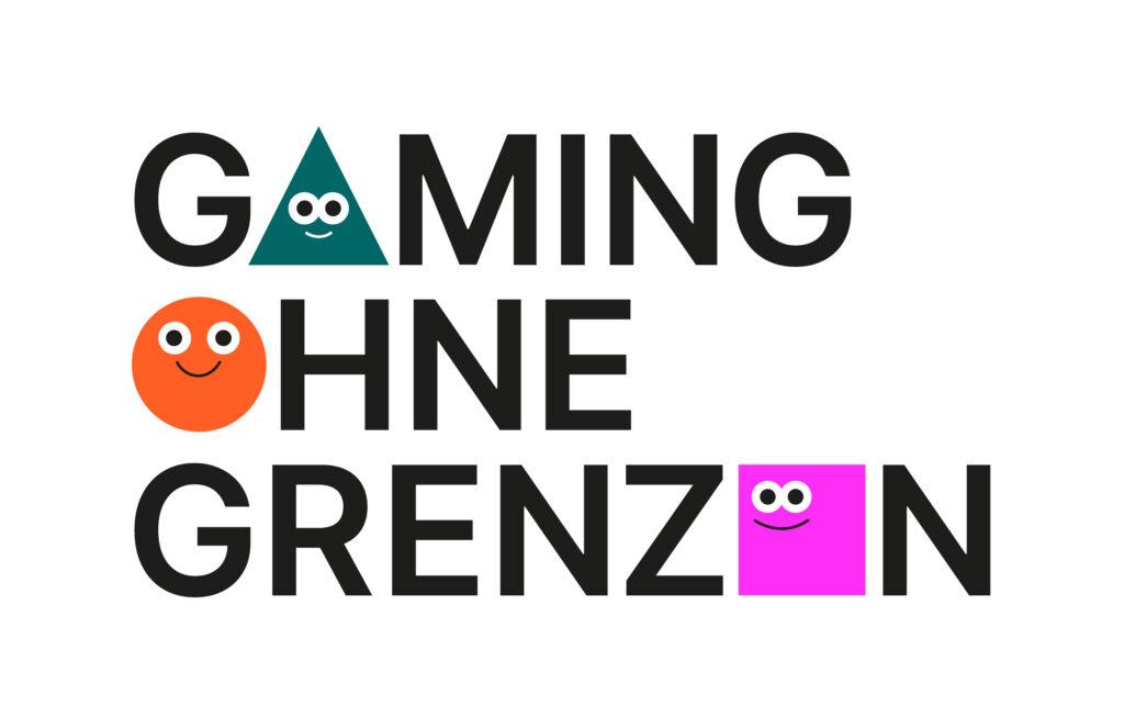 """Das Logo von """"Gaming ohne Grenzen"""": Schwarze Großbuchstaben auf weißem Hintergrund, bei denen drei durch ein grünes Dreieck, einen orangenen Kreis und ein lila Viereck mit Grinsegesichtern ersetzt wurden."""