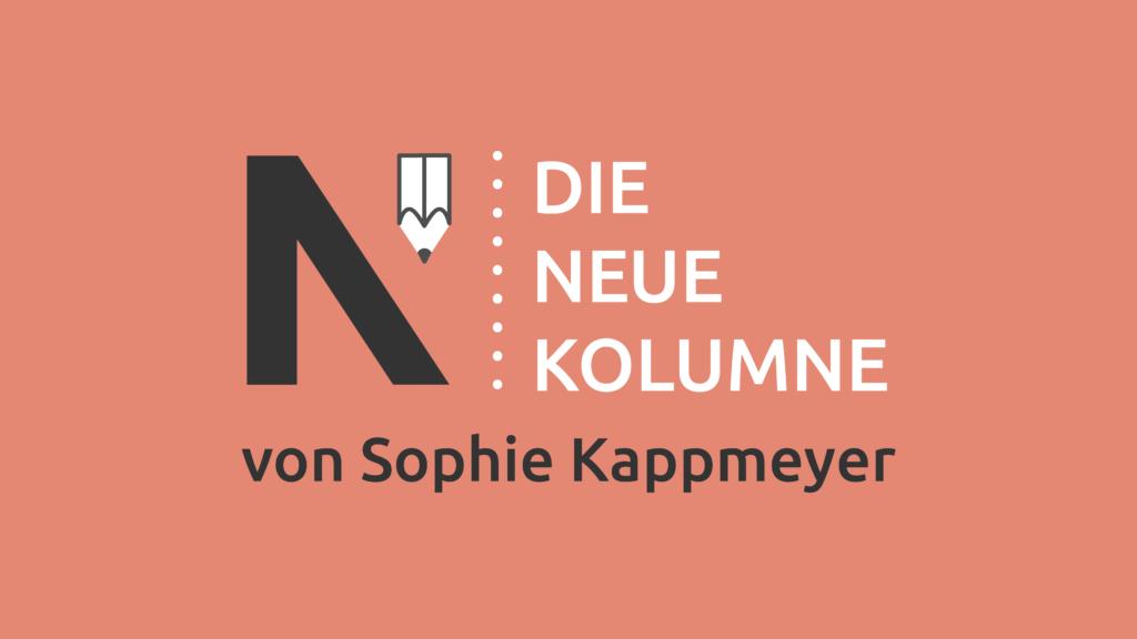 Das Logo von Die Neue Norm auf orangem Grund. Rechts davon steht: Die Neue Kolumne. Unten steht: Von Sophie Kappmeyer.