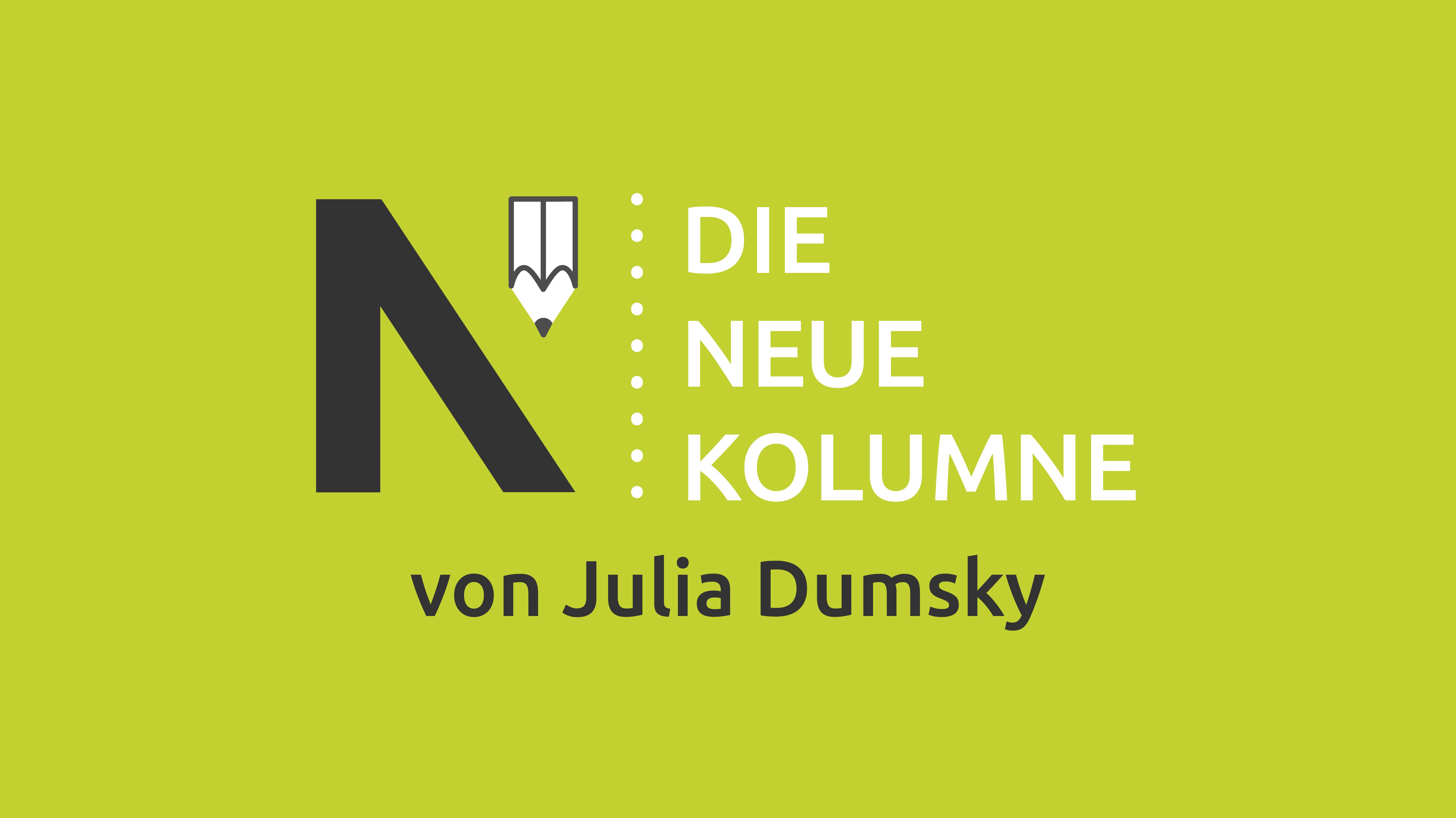 Das Logo von Die Neue Norm auf hellgrünem Grund. Rechts davon steht: Die Neue Kolumne. Unten steht: Julia Dumsky.