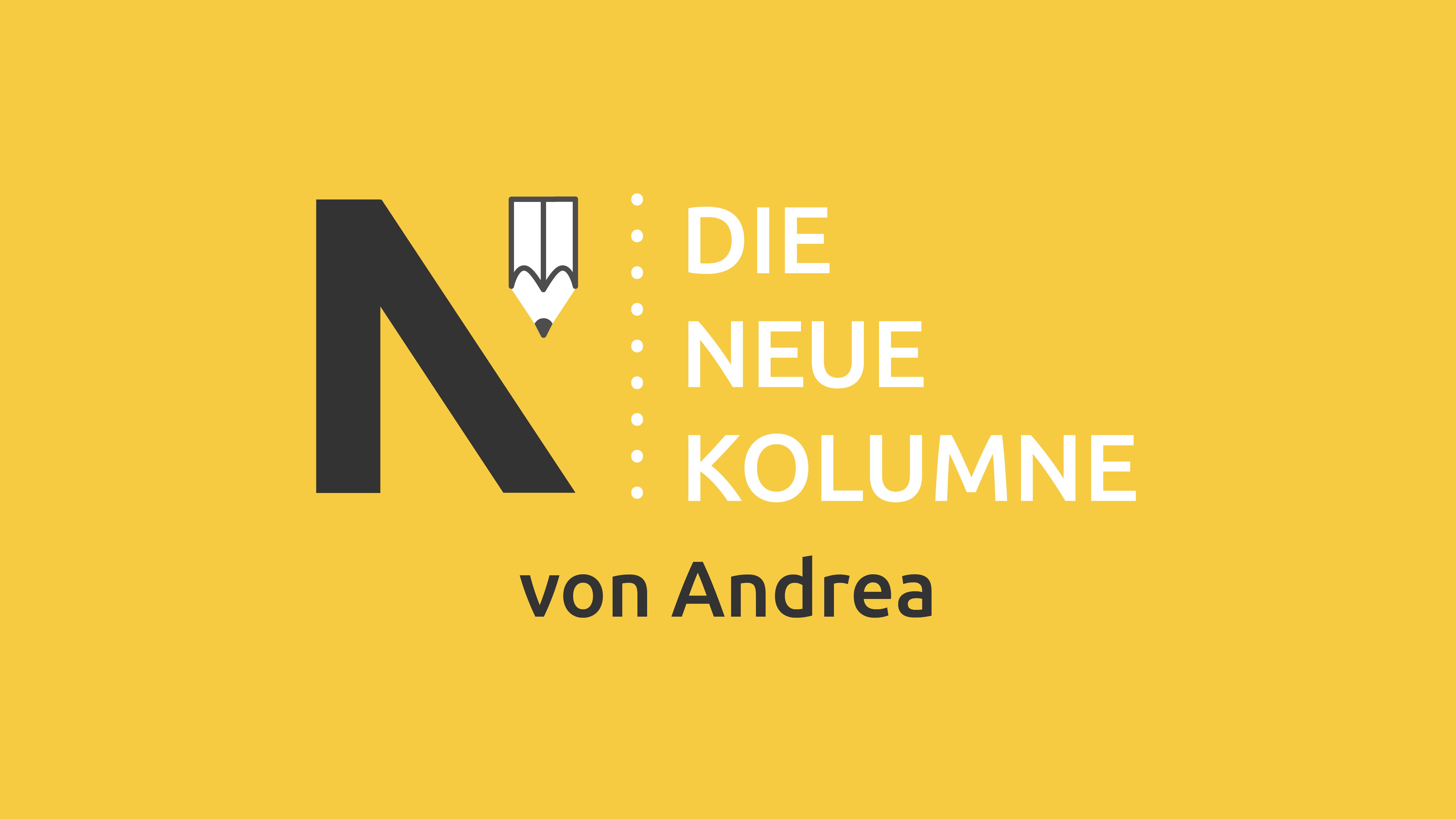 Das Logo von Die Neue Norm auf gelbem Grund. Rechts davon steht: Die Neue Kolumne. Unten steht: Von Andrea.
