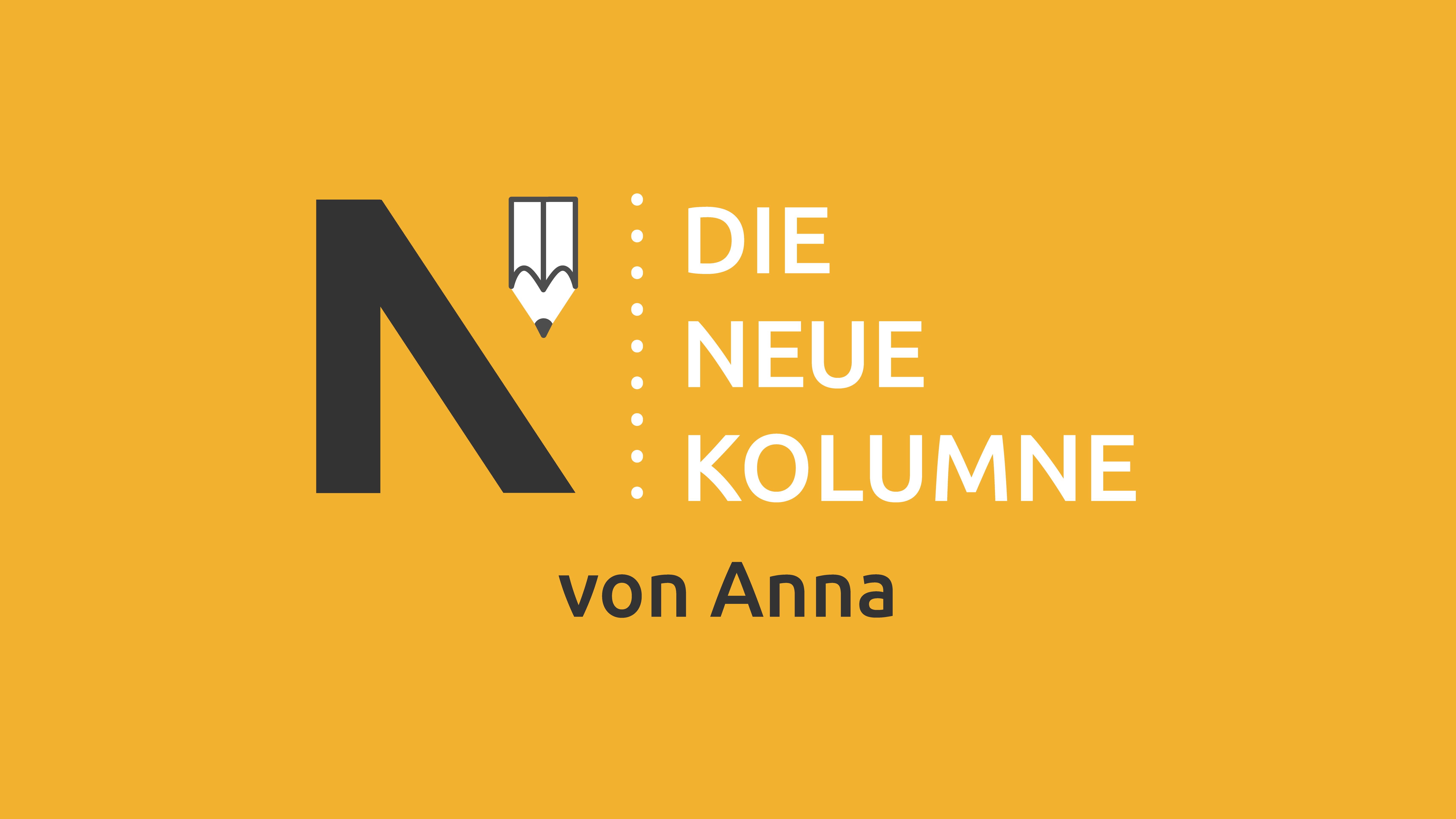 Das Logo von Die Neue Norm auf gelbem Grund. Rechts davon steht: Die Neue Kolumne. Unten steht: Von Anna.