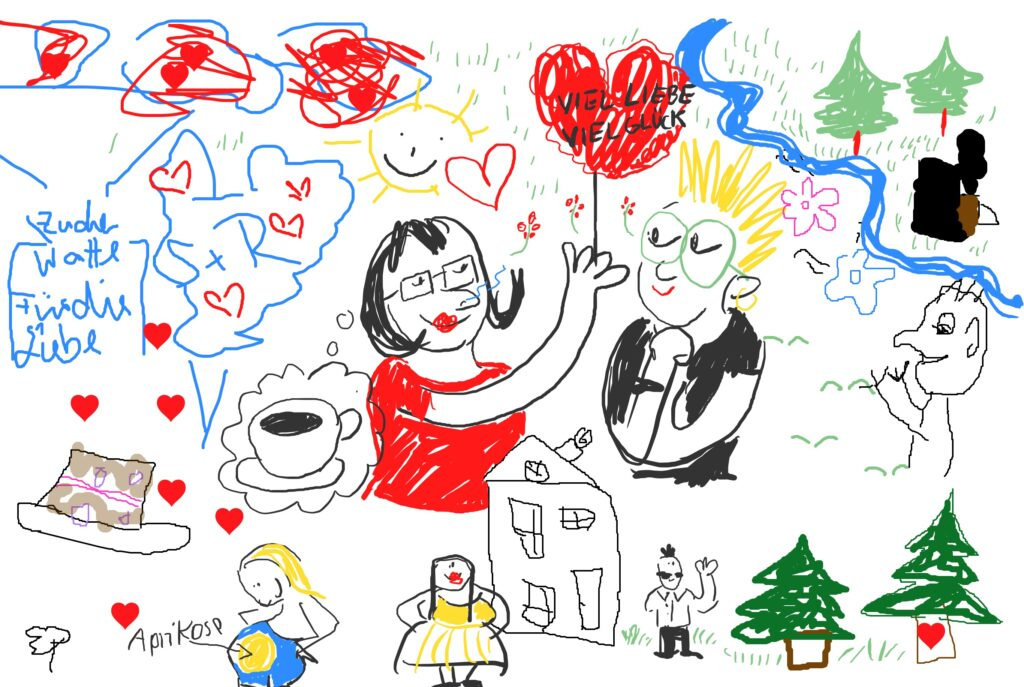 """Eine Zeichnung von einem Mann und einer Frau. Die Frau hält einen roten Herzchen-Luftballon in der Hand auf dem """"Viel Liebe, viel Glück"""" steht."""