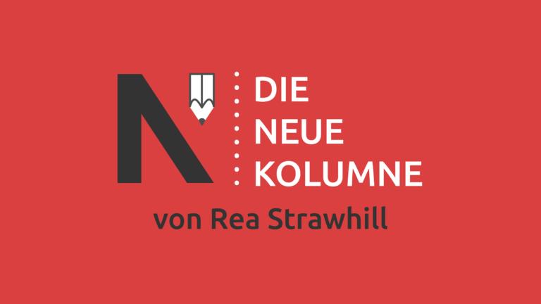 Das Logo von Die Neue Norm auf rotem Grund. Rechts davon steht: Die Neue Kolumne. Unten steht: Von Rea Strawhill.