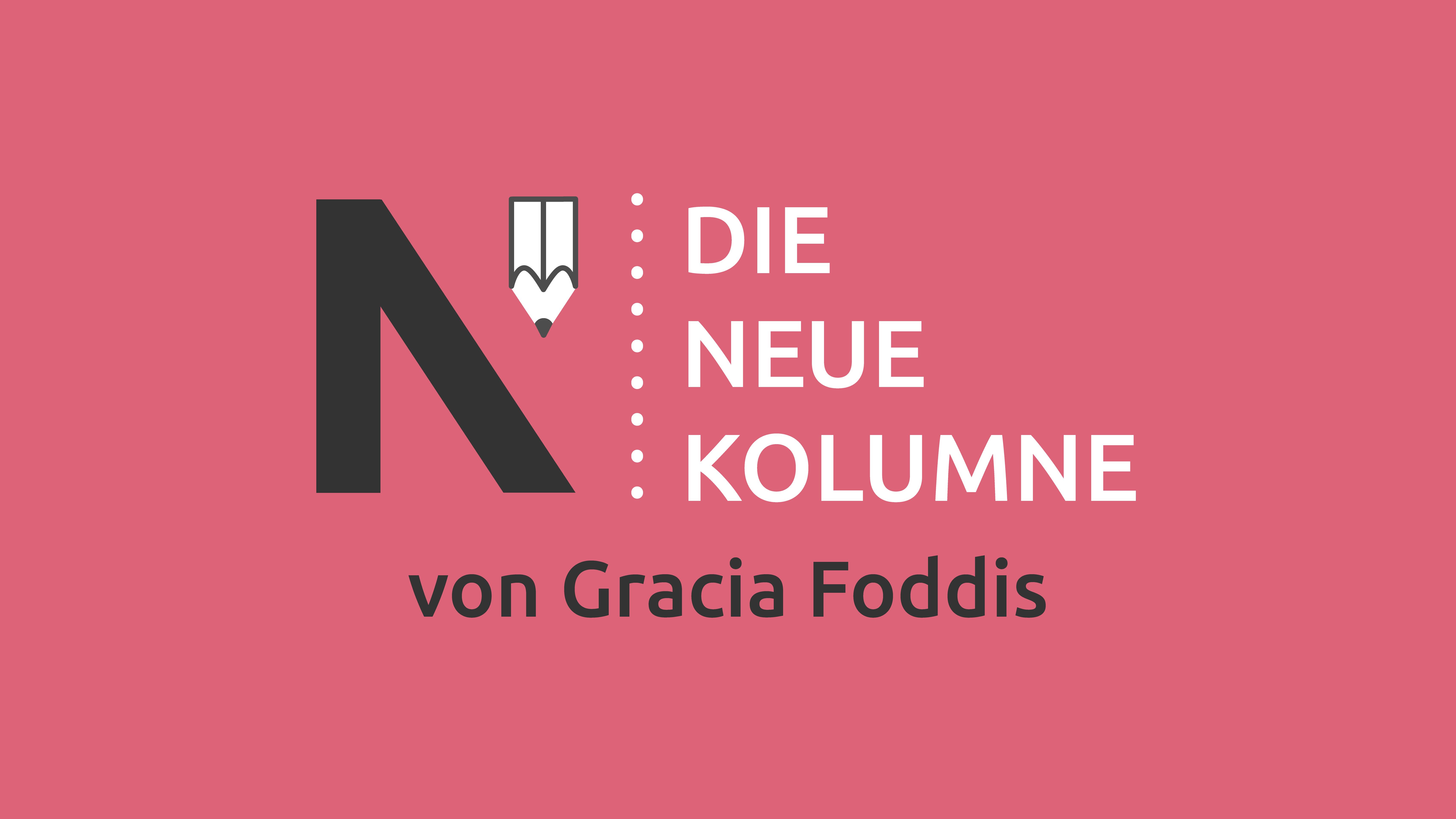 Das Logo von Die Neue Norm auf pinkem Grund. Rechts davon steht: die Neue Kolumne. Unten steht: von Gracia Foddis.