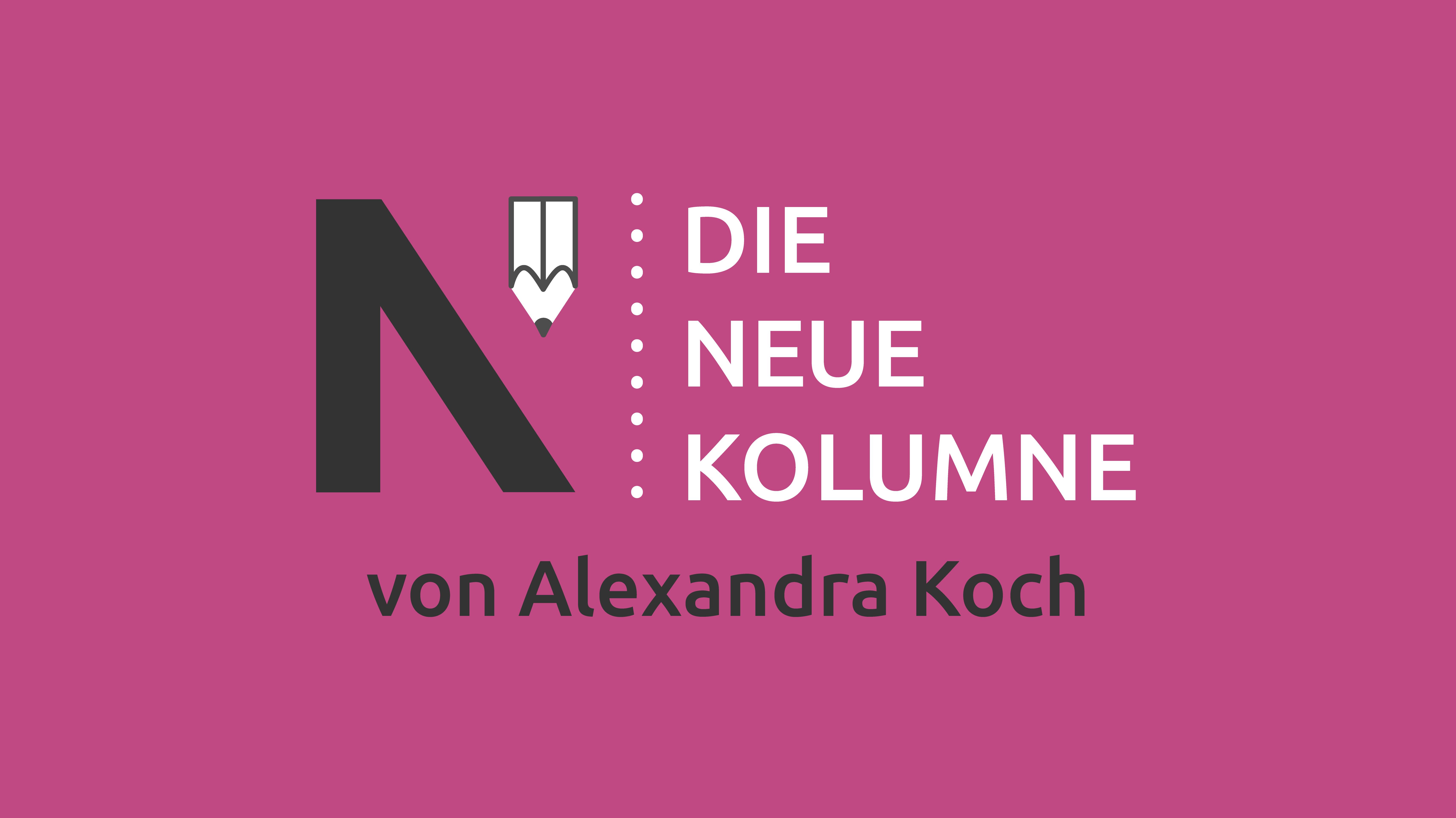 Das Logo von Die Neue Norm auf pinkem Grund. Rechts davon steht: die Neue Kolumne. Unten steht: von Alexandra Koch.