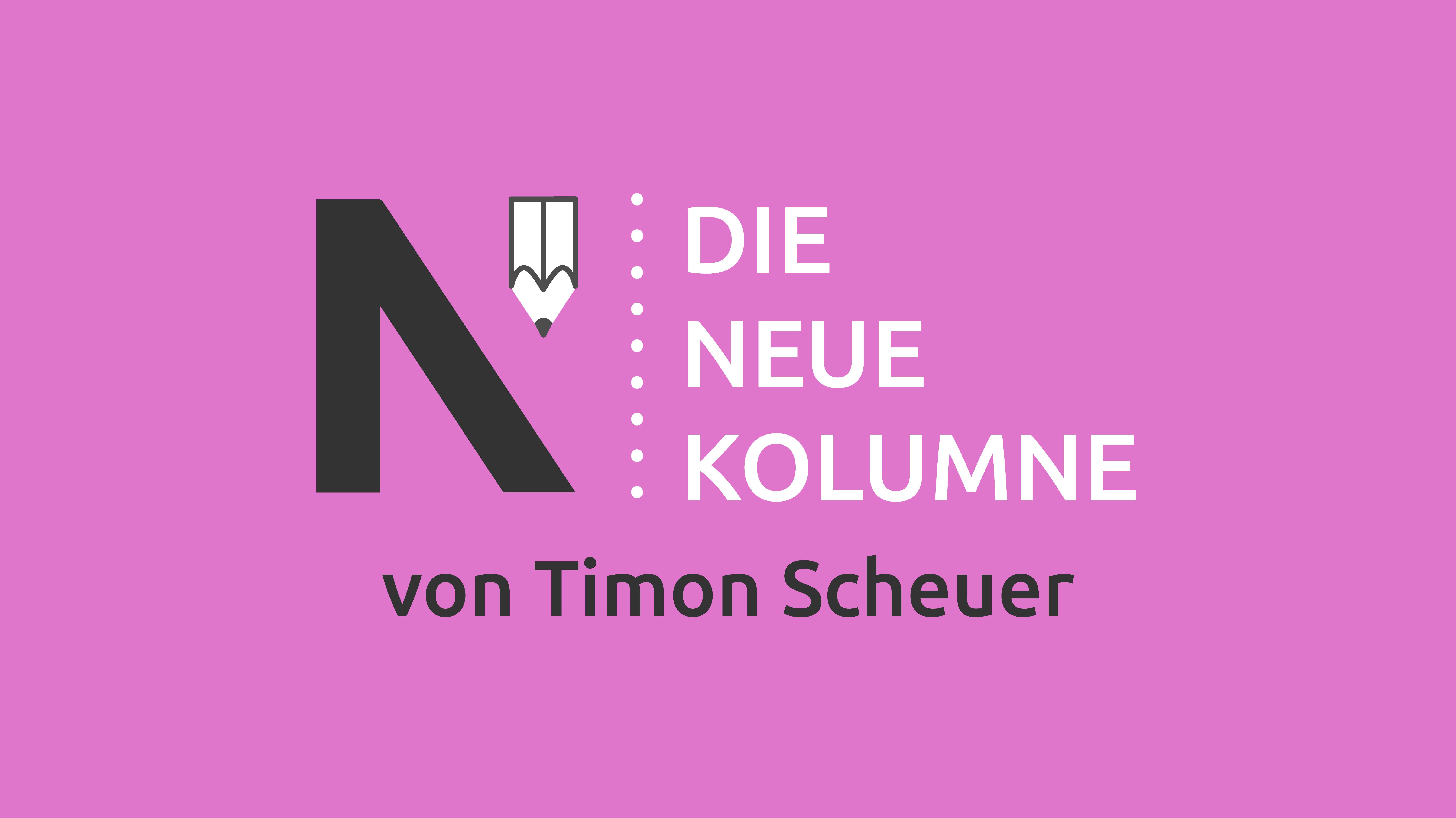Das Logo von Die Neue Norm auf pinkem Grund. Rechts davon steht: die Neue Kolumne. Unten steht: von Timon Scheuer.