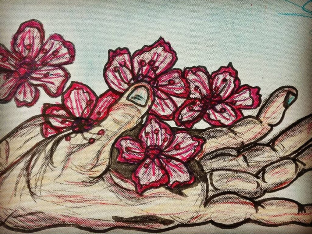 Auf eine Leinwand gemalt ist eine Hand mit roten Blüten. Das Bild ist von Melina Ebel gemalt worden.