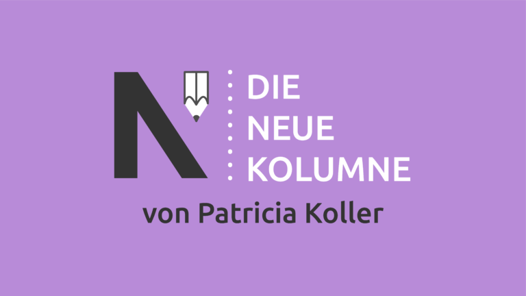 Das Logo von Die Neue Norm auf lila Grund. Rechts davon steht: Die Neue Kolumne. Unten steht: Von Patricia Koller.