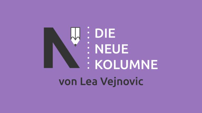 Das Logo von Die Neue Norm auf lila Grund. Rechts davon steht: Die Neue Kolumne. Unten steht: Von Lea Vejnovic.